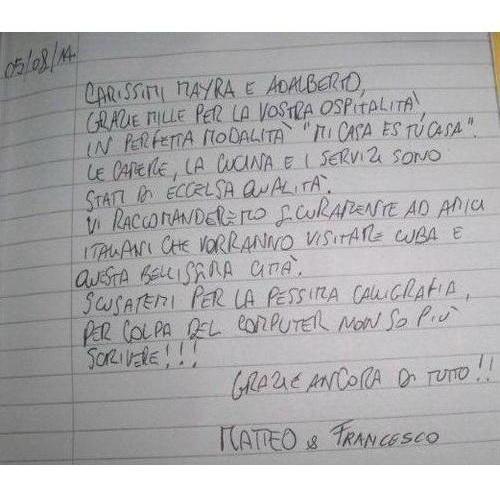Hostal La Terraza - Testimonios de nuestros clientes - Agosto 2014