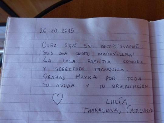 Hostal La Terraza de Adalberto y Mayra en Cienfuegos Cuba - Testimonio de nuestros huéspedes de Cataluña