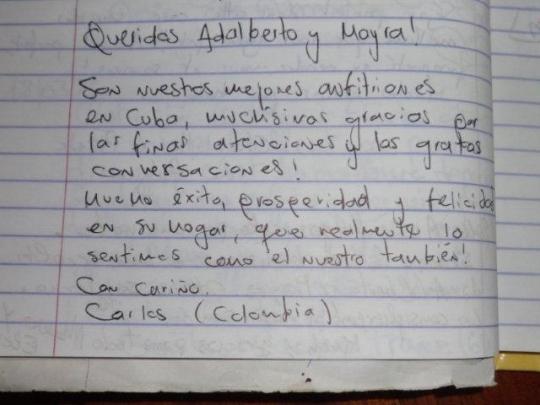 Testimonio de nuestro huésped de Colombia