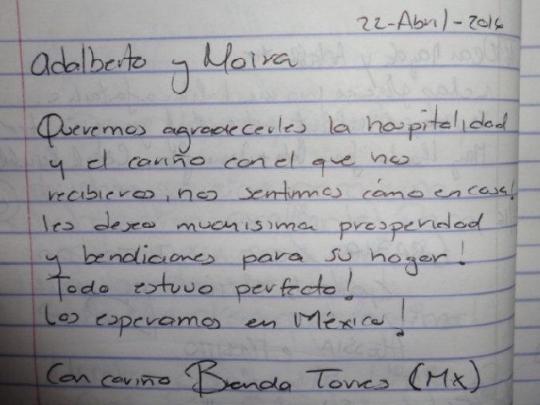 Testimonio de nuestra huésped de México