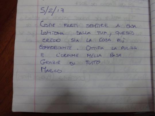 Testimonio de nuestro huésped de Italia